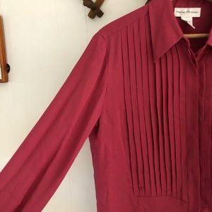 Vintage Pleated Silk Blouse